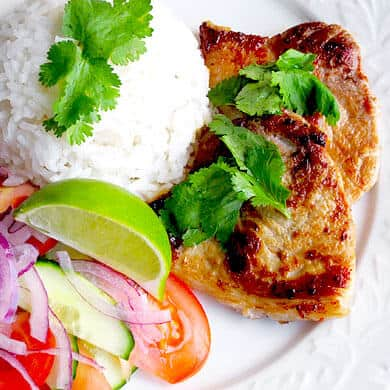 Vietnamese Pork Chops with Cucumber Tomato Salad - Pickled Plum Food And Drinks