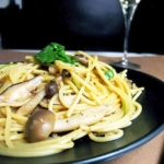 Plate of spaghetti with mushrooms