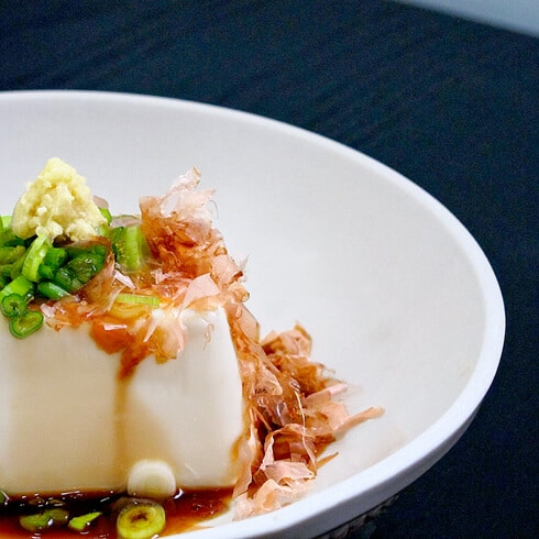 cold silken tofu with ginger, scallions and soy sauce