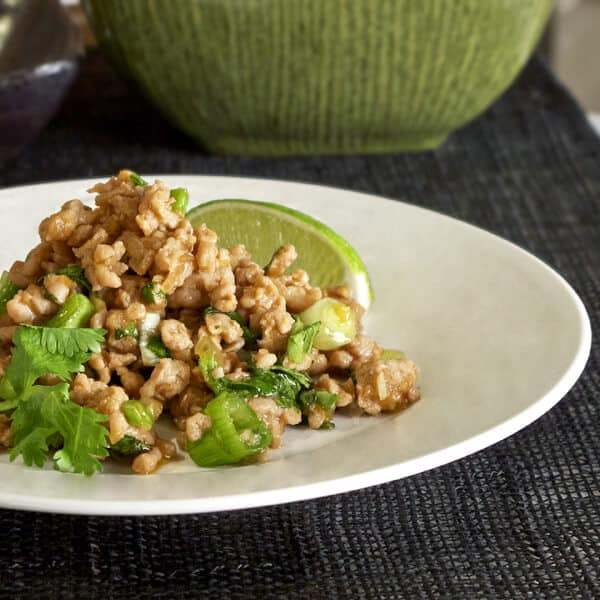 Thai ground chicken with lime and cilantro pickled plum for 100 degree chinese cuisine