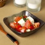 tofu tomato and shiso leaves