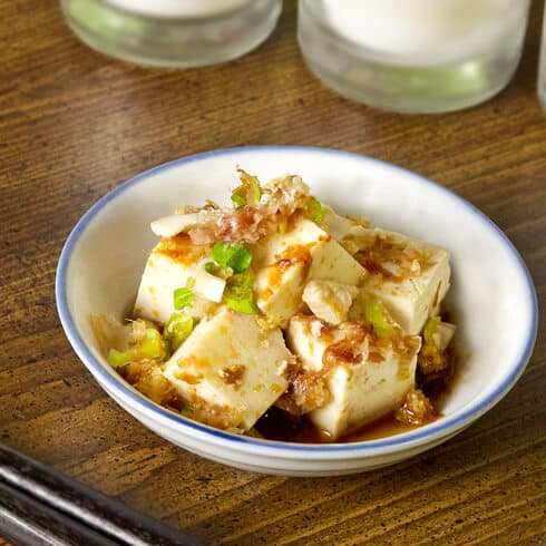 silken tofu with scallions and bonito flakes