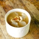 Japanese misoshiru soup with daikon and sesame