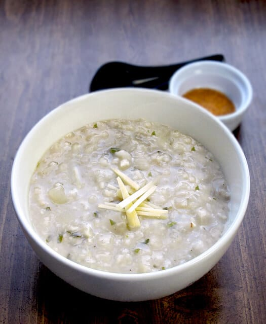 Ginger and cilantro congee (okayu) - Pickled Plum