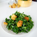 kale caesar salad with croutons