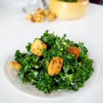 kale caesar salad with croutons