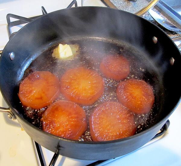 daikon beginning to caramelize