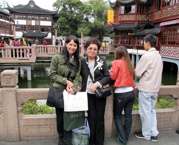 Mom and I on vacation shopping in Shanghai.