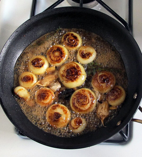 pan fried cipollini onions