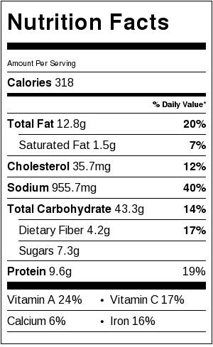 chow mein noodles nutrition facts