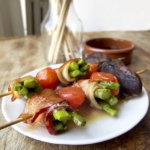 bacon wrapped asparagus yakitori (aspara bacon)