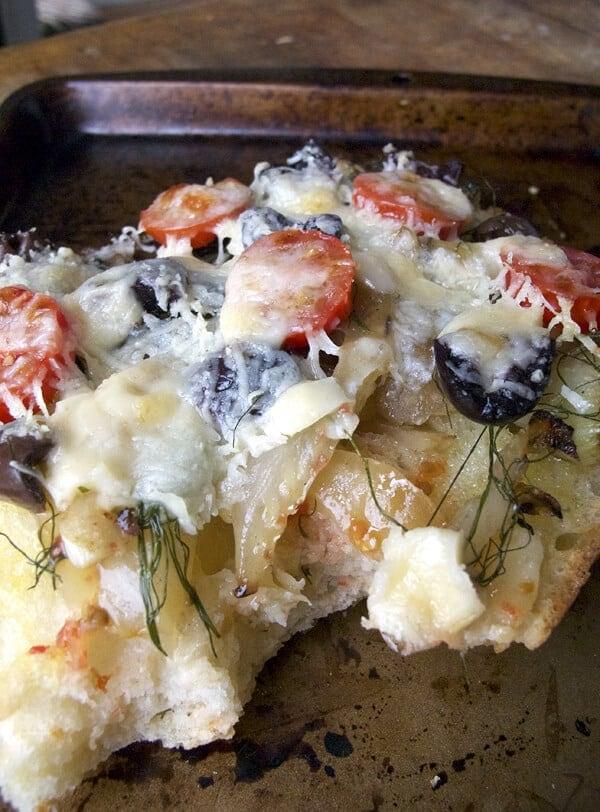 Fennel and black olive ciabatta pizza