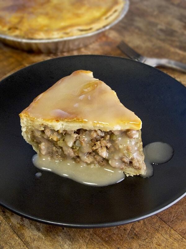 Turkey tourtiere (meat pie) with gravy