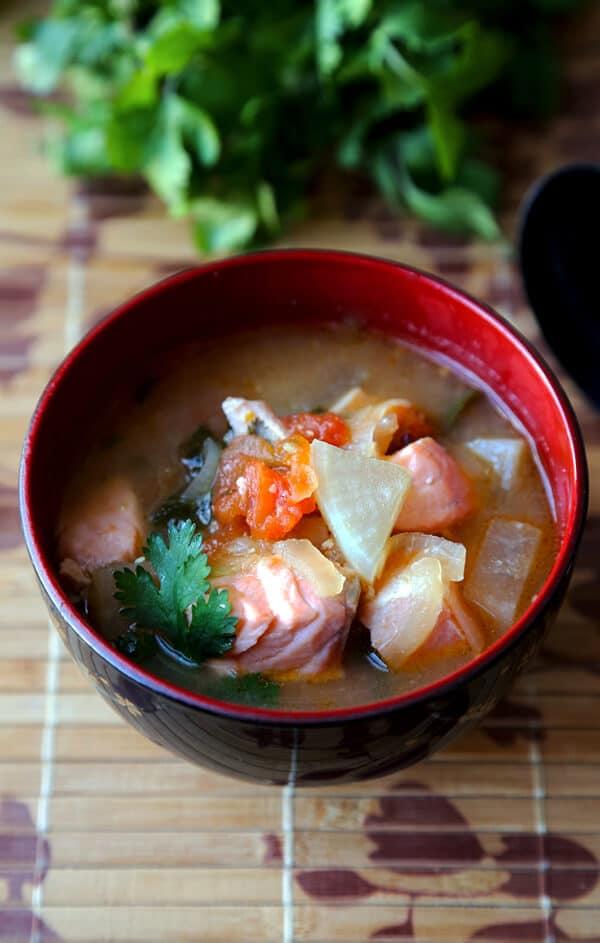 Salmon sinigang - Filipino sour soup