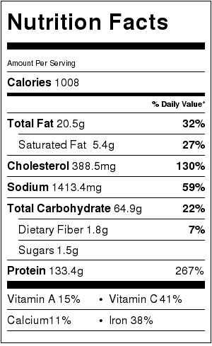 chicken pho nutritional label