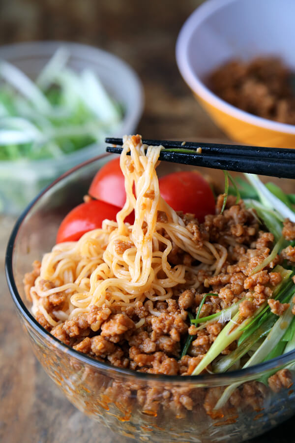 Spicy pork ramen noodles (ja ja men)