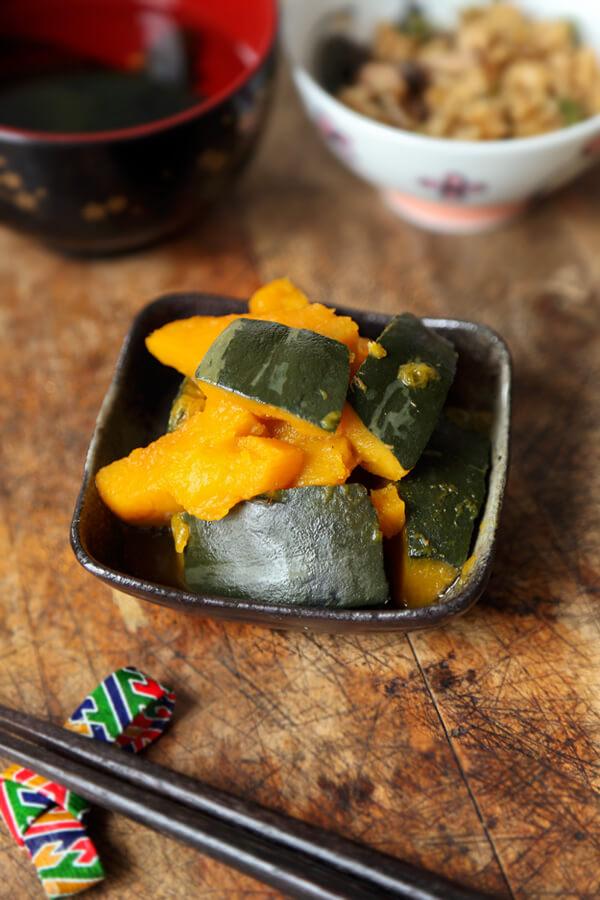 kabocha squash simmered in soy dashi broth