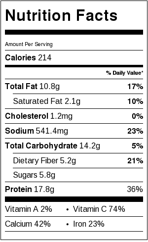 simmered tofu nutritional label