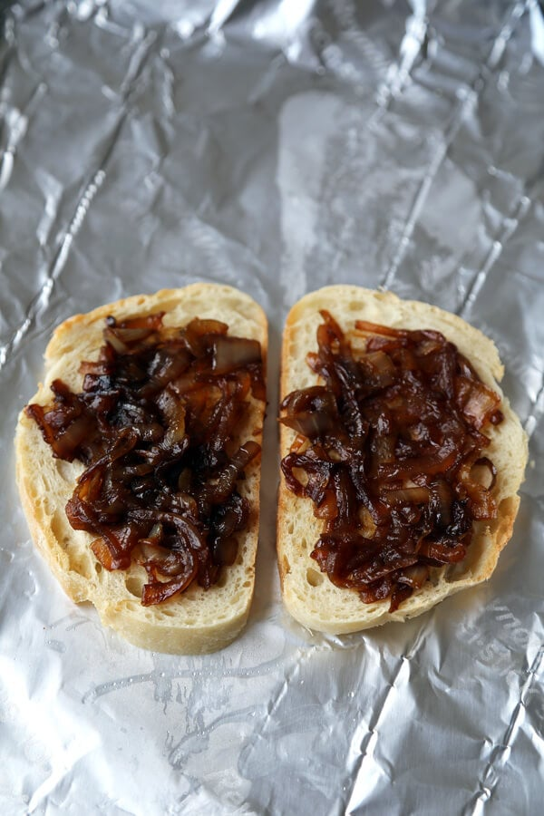 Cheese and caramelized onion tartine with fig jam ...