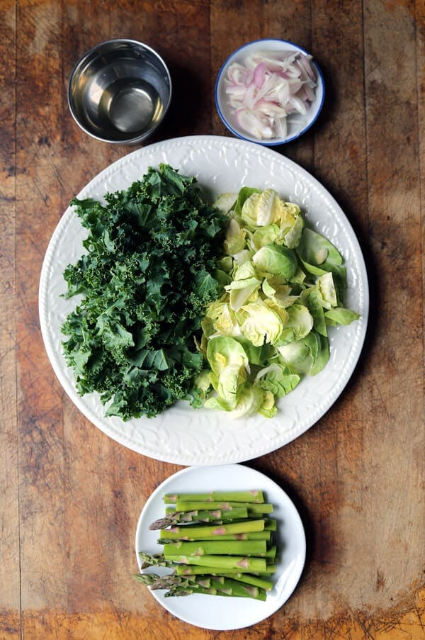 Warm brussels sprouts and kale salad