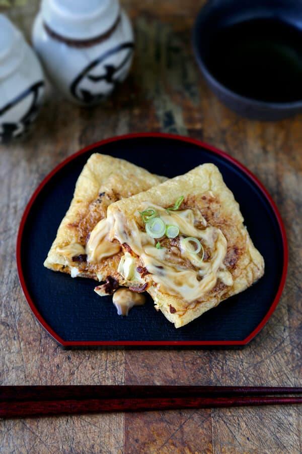 Ham and cheese fried tofu pockets