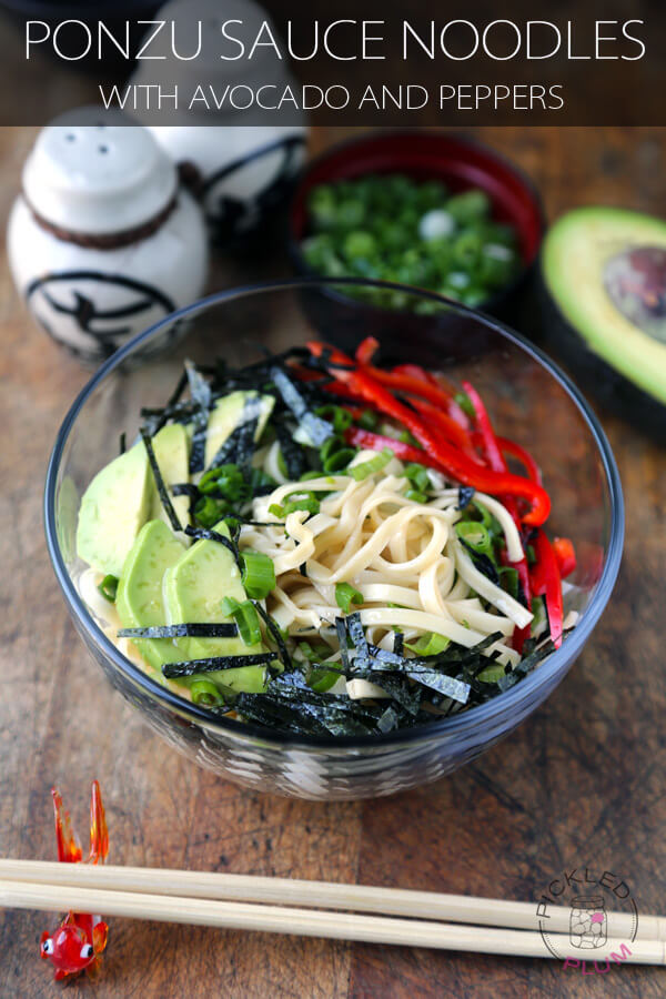 ponzu sauce noodles with avocado peppers