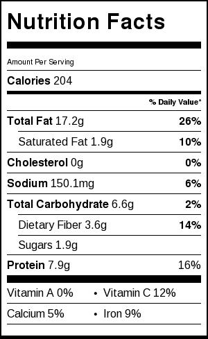 soy sesame edamame nutritional label