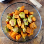 roasted sweet potatoes brussels sprouts