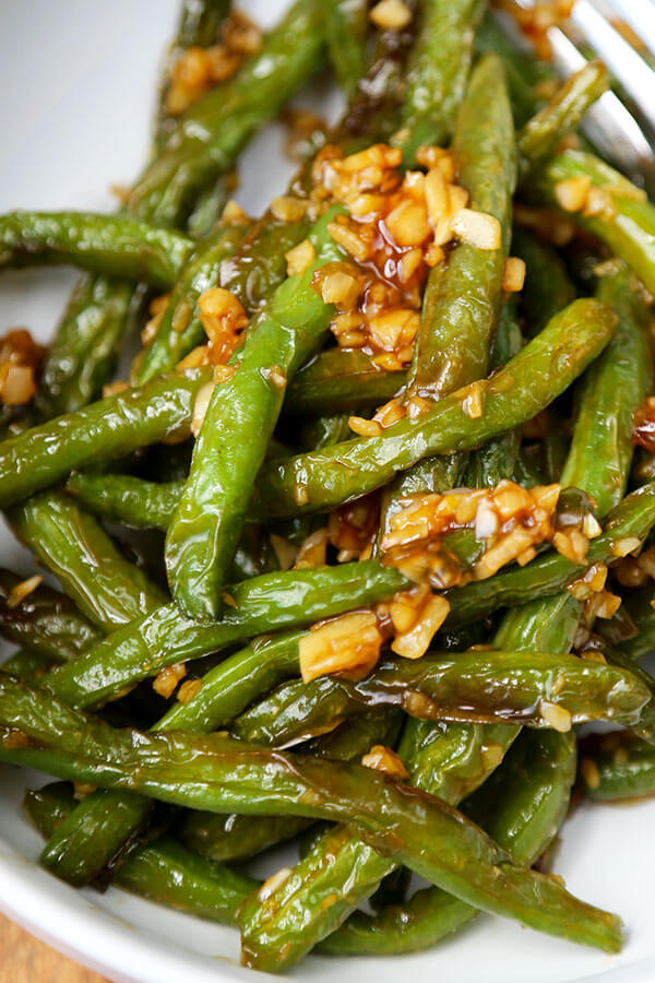 Dry-Fried Green Beans with Garlic Sauce - Pickled Plum