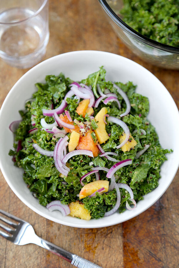 Crunchy Quinoa and Kale Salad with Peach Dressing - Pickled Plum