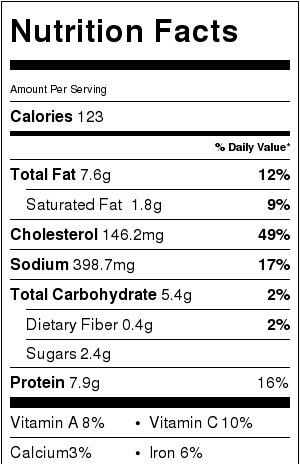 chicken egg foo young nutrition facts