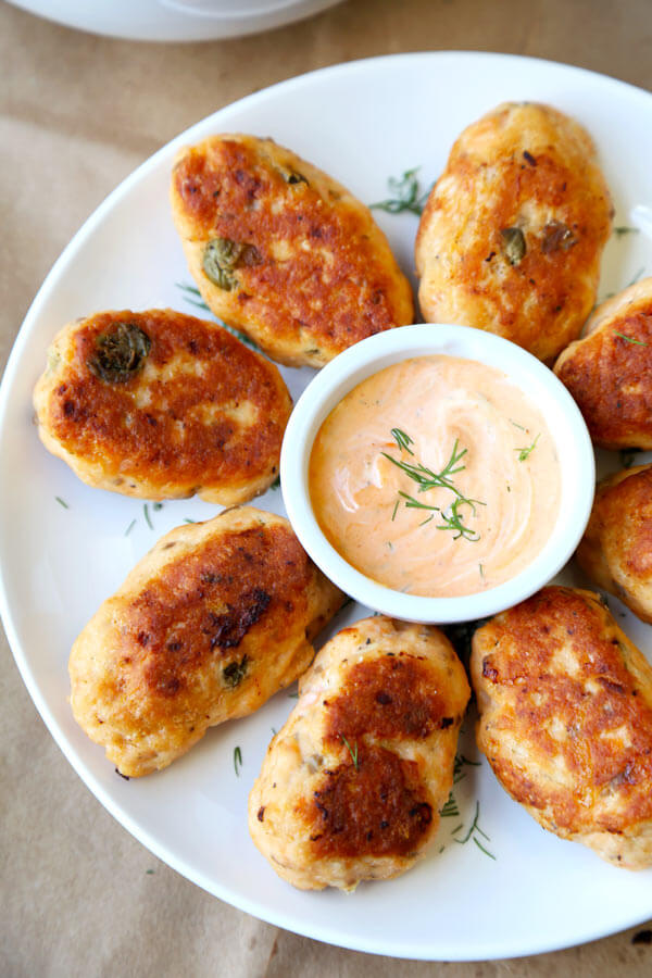 Salmon Croquettes with Dill and Sriracha Dip - Pickled Plum Food And ...
