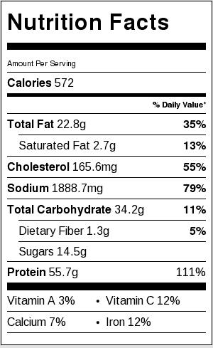 Mongolian Chicken Nutritional Label
