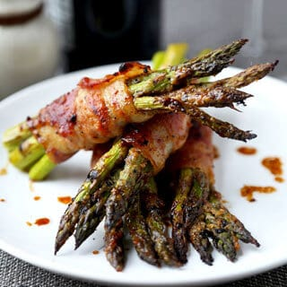 Bacon Wrapped Asparagus With Honey Miso Glaze