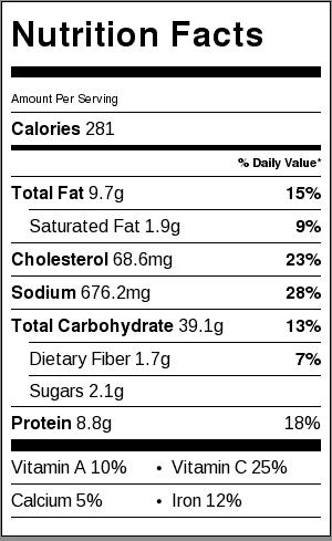 shrimp fried rice recipe nutritional label