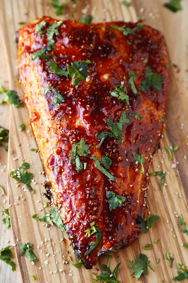 Honey Sriracha Oven Baked Salmon Pickled Plum Food And Drinks