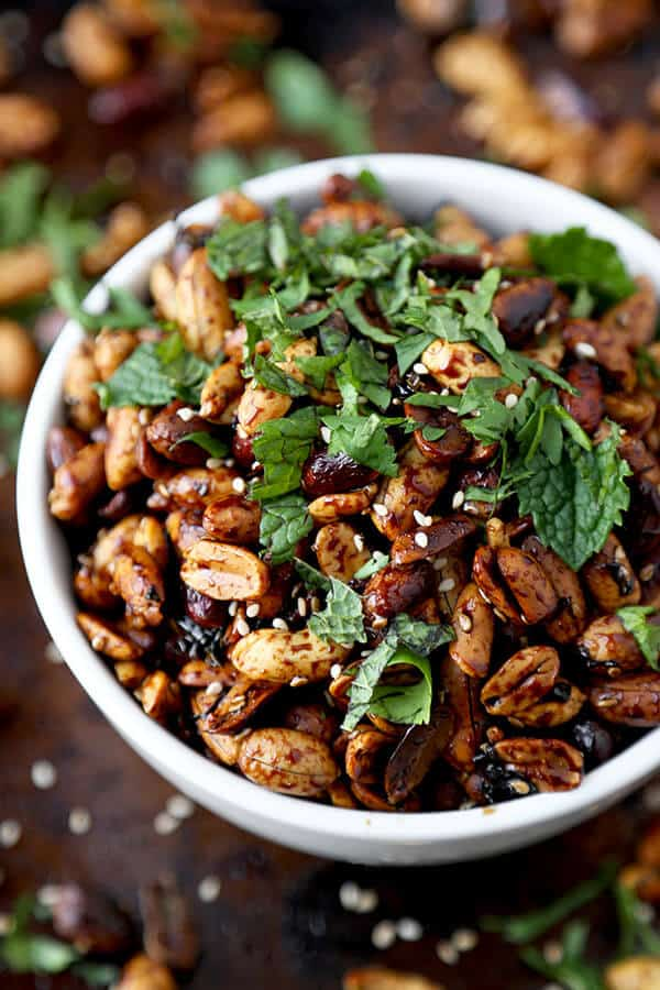 Sweet Vinegar Peanuts - Sticky, sweet vinegar peanuts make the most amazing party snack! Eat them warm or cold, these sweet and sour nuts are addictive and only take 15 minutes to make! We love these as a Super Bowl Snack! Easy, vegan | pickledplum.com