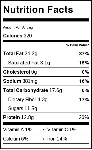 sweet vinegar peanuts nutritional label