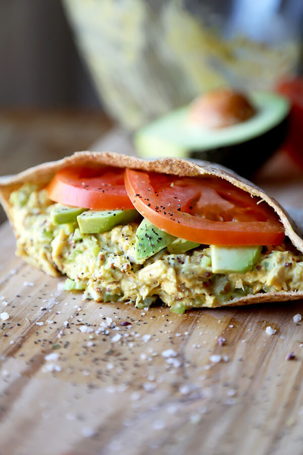 Tuna Sandwich Recipe - This is the ultimate tuna sandwich - crunchy, savory, tangy and creamy, it has it all plus an added pinch of turmeric for extra health! Perfect for lunch at work or home. Healthy, easy recipe | pickledplum.com