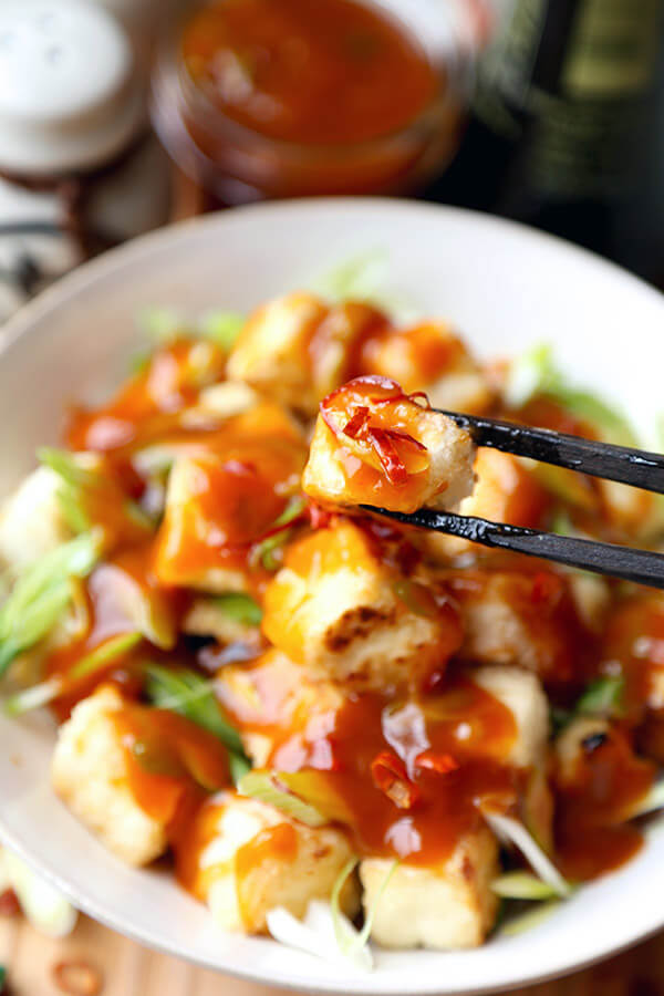 General Tso Tofu - Better than takeout General Tso tofu with a sweet, savory and slightly spicy glaze. Ready in 20 minutes from start to finish. Impossible to resist! Healthy, easy, tofu recipe | pickledplum.com