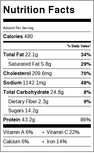 hoisin chicken nutrition facts