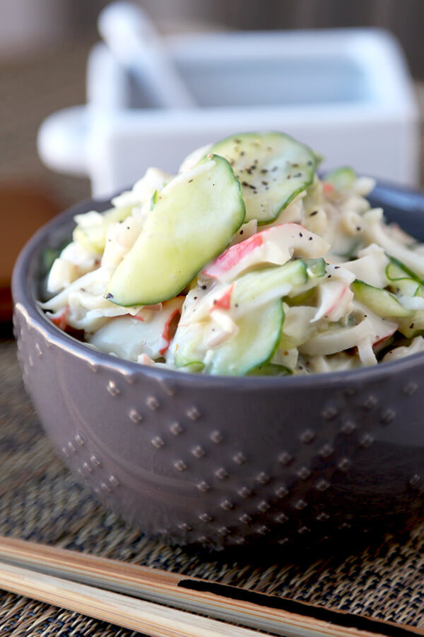 Kani Salad - This is a light and creamy kani salad with sweet and salty flavors your whole family will love - and only takes 10 minutes to make from start to finish! Easy, Salad, Healthy, Recipe. | pickledplum.com