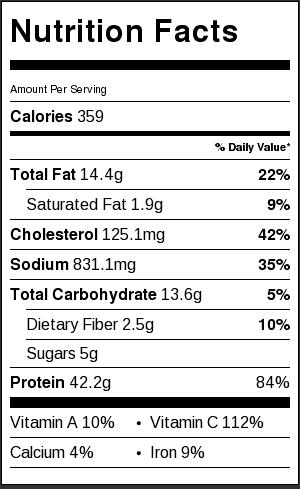 chicken chop suey nutrition facts
