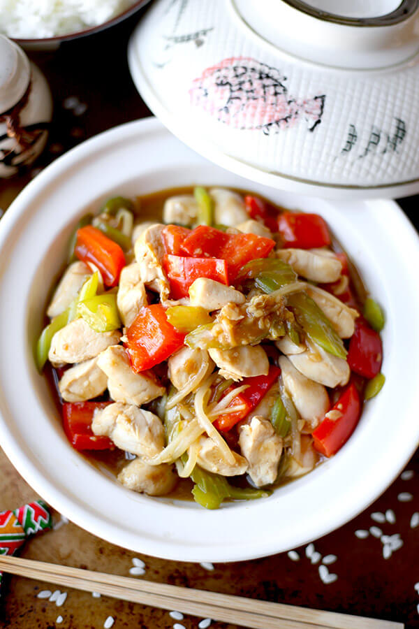 Chicken Chop Suey - Easy chicken chop suey cooked in a delicate savory sauce. This simple recipe is great if you are busy but still want homemade Chinese! Ready in less than 20 minutes. Chinese, Easy, Healthy, Recipe   pickledplum.com