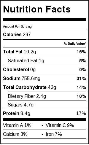 Cold Asian Noodle Salad Nutritional Label