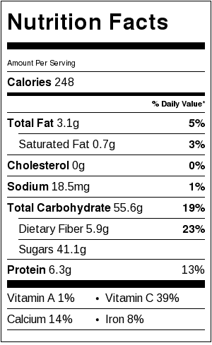 green tea apple smoothie nutritional label
