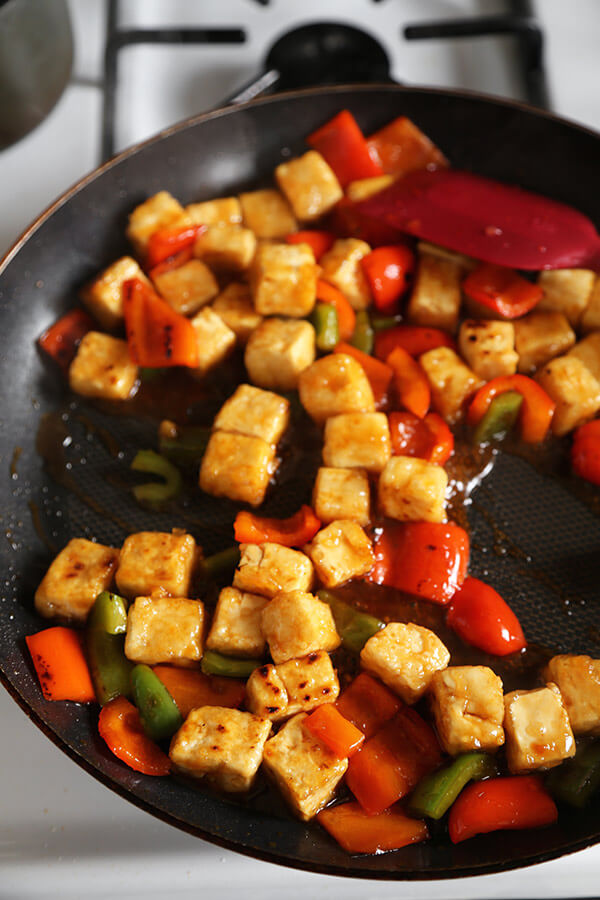 Sweet and Sour Tofu - This sweet and sour tofu recipe is a quick and delicious dinner option that's much better than takeout - and is ready in just 20 minutes! #Chinesefood #Veganrecipes #plantbasedfood #tofu | pickledplum.com