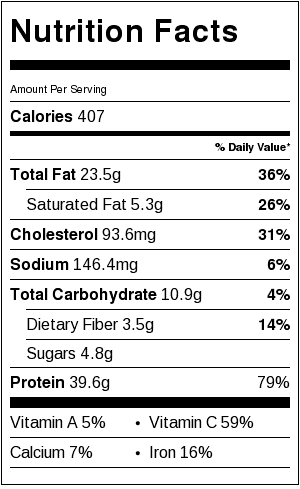Salmon En Papillote Nutrition Facts