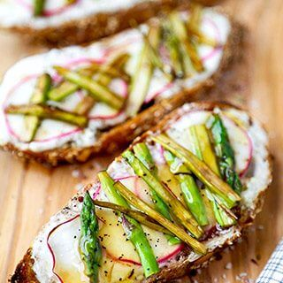Breakfast Asparagus, Radish and Ricotta Toast