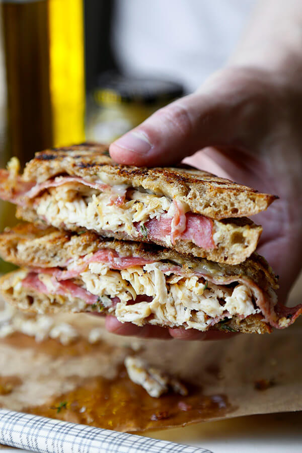 Chicken Cordon Bleu Sandwich - Gooey Gruyère, smoky salami and shredded chicken make this tasty sandwich a treat your family will love! Ready in 20 minutes from start to finish. Recipe, Easy, Sandwich, Snack, Grilled Cheese, Lunch | pickledplum.com